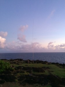 "The ""GU Special"" fully extended for 40 meters.  This is facing approximately North, or toward EU.  40 meters was a bust with lots of radar and freebander interference."