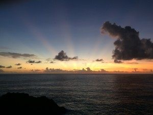 Crepuscular rays from Cape Matatula.